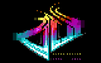 Un superbe logo en mode texte (ASCII) par H7. Blockhead par Alpha Design (MS-DOS, 2016) https://demozoo.org/productions/161424/