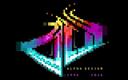 Un superbe logo en mode texte (ASCII) par H7. Blockhead par Alpha Design (MS-DOS, 2016) https://demozoo.org/productions/161424/