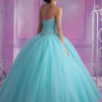 2016 Mint Blue Quinceanera Dresses Ball Gown With Beads ...