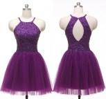 Purple Halter Short Homecoming Dresses
