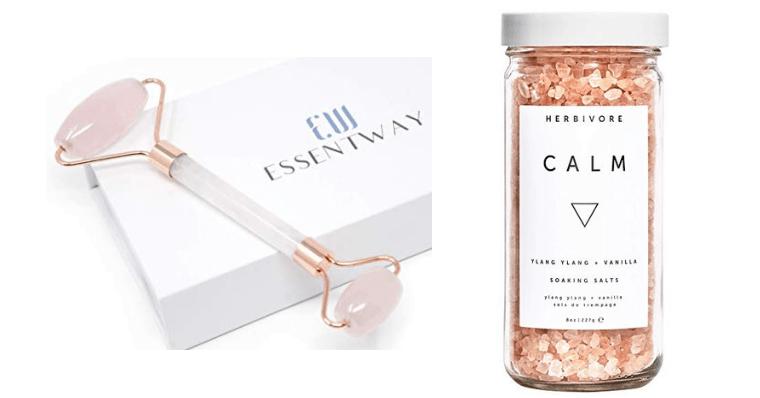 amazon-rose quartz face roller-herbivore calm bath salts