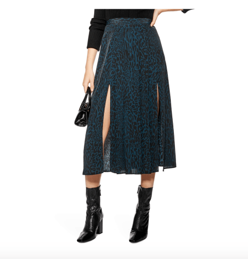 photo of Topshop box pleat leopard print midi skirt