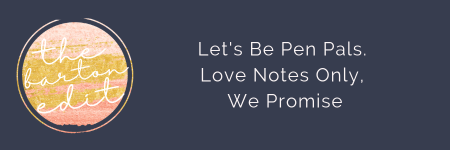 link button to blog post: Let's Be Pen Pals. Love Notes Only