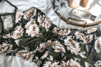 photo of floral pajama set on white background