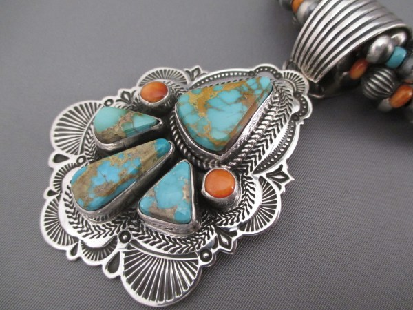 Turquoise 5 Strand Necklace With Spiny Oyster Shell