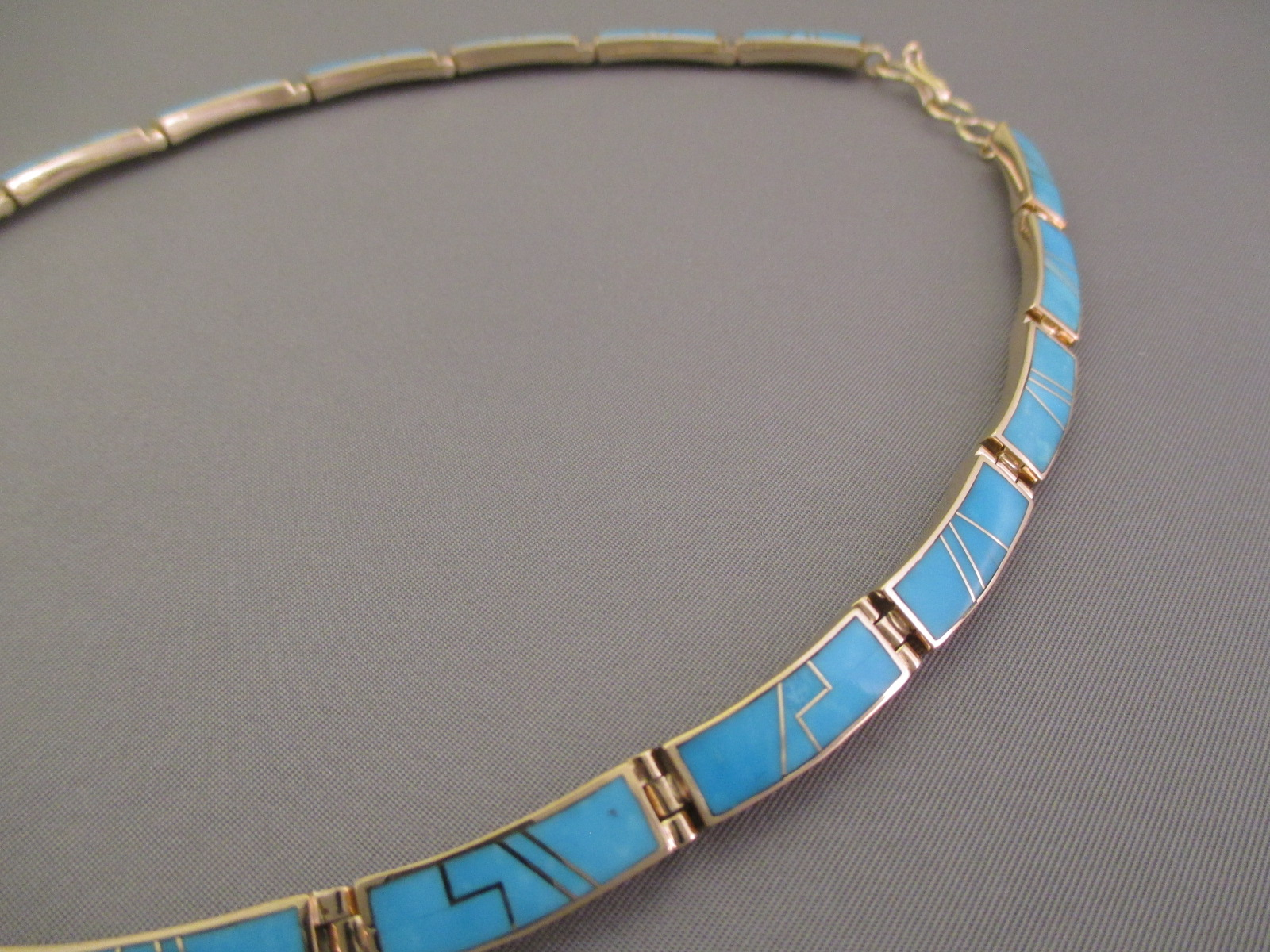 14kt Gold Turquoise Inlay Necklace  Native American Gold