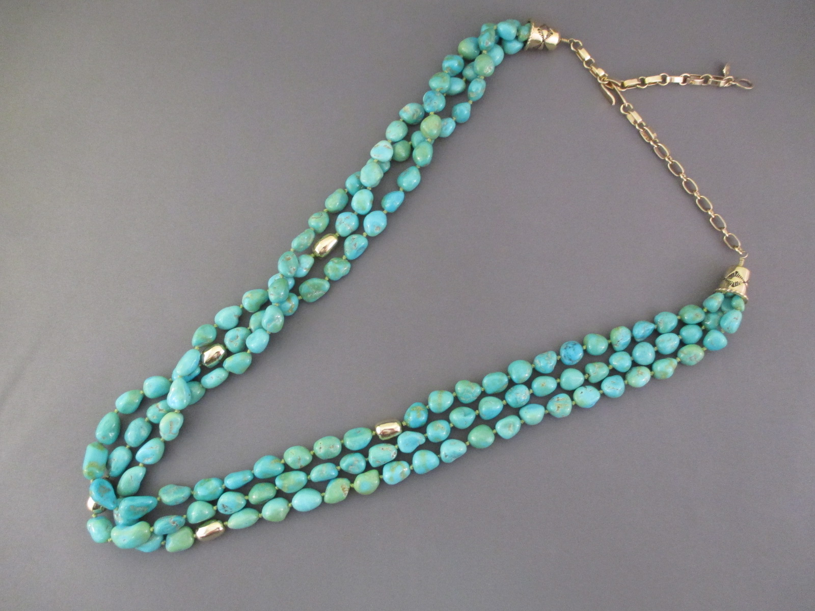 Long Sleeping Beauty Turquoise  14kt Gold Necklace