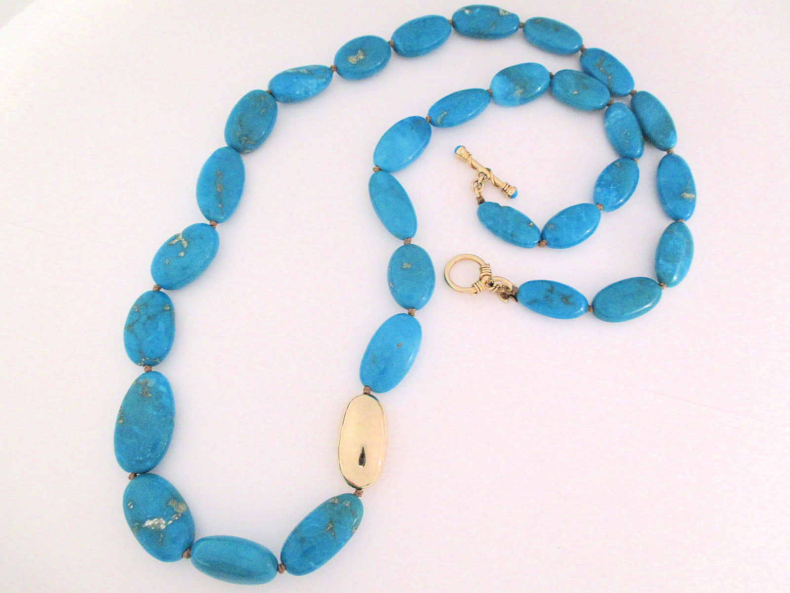 Sleeping Beauty Turquoise Necklace with 14kt Gold
