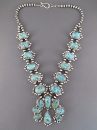 Kingman Turquoise Squash Blossom Necklace & Earrings Set