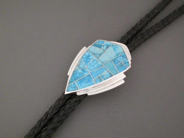 Turquoise Inlay Bolo Tie - Native American Jewelry