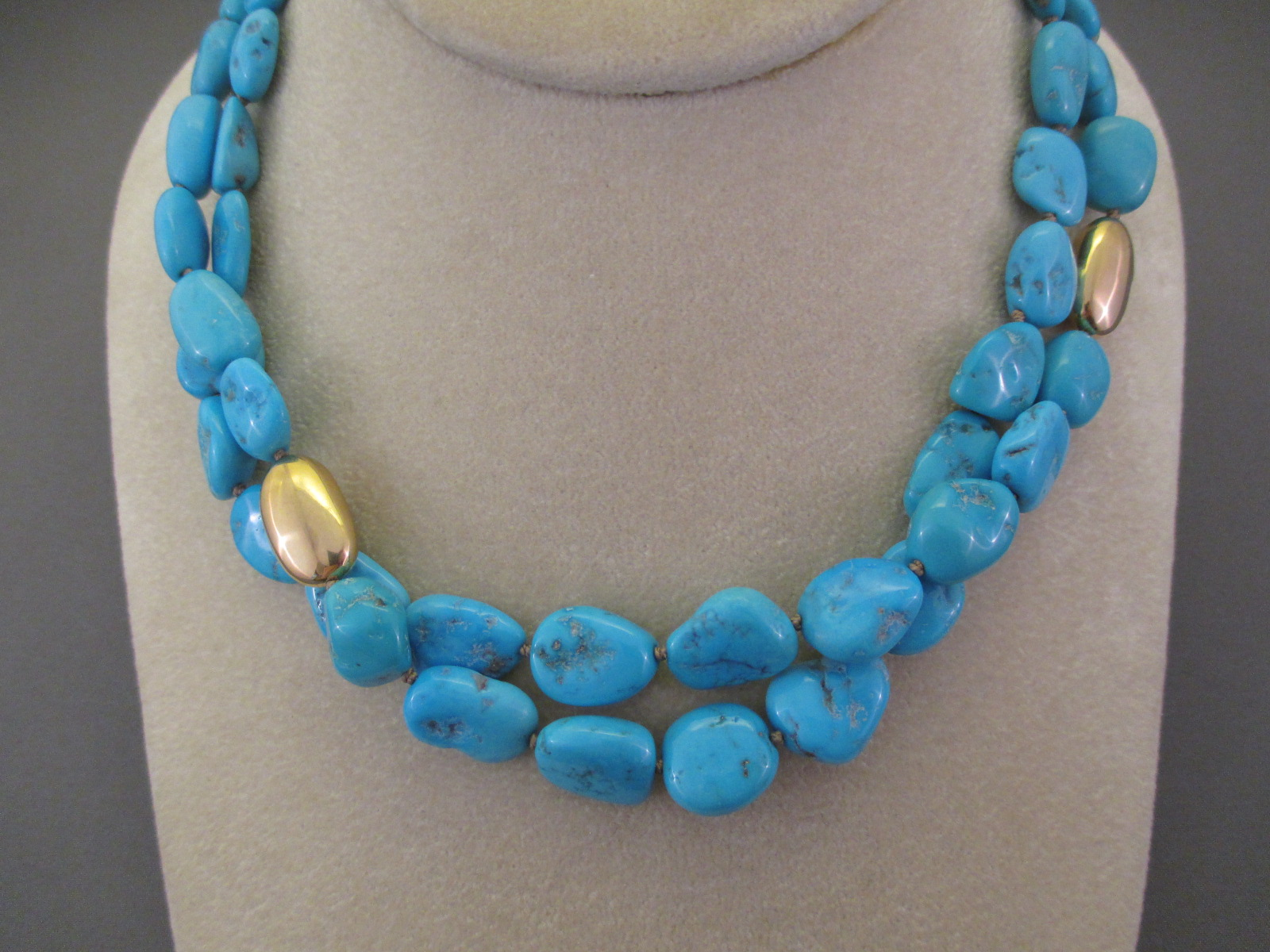 Sleeping Beauty Turquoise  14kt Gold Necklace 2Strands