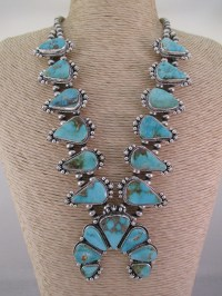 Pilot Mountain Turquoise Squash Blossom Necklace & Earrings