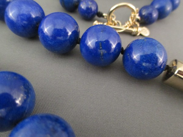 Long Lapis & 14kt Gold Necklace - Native American Jewelry