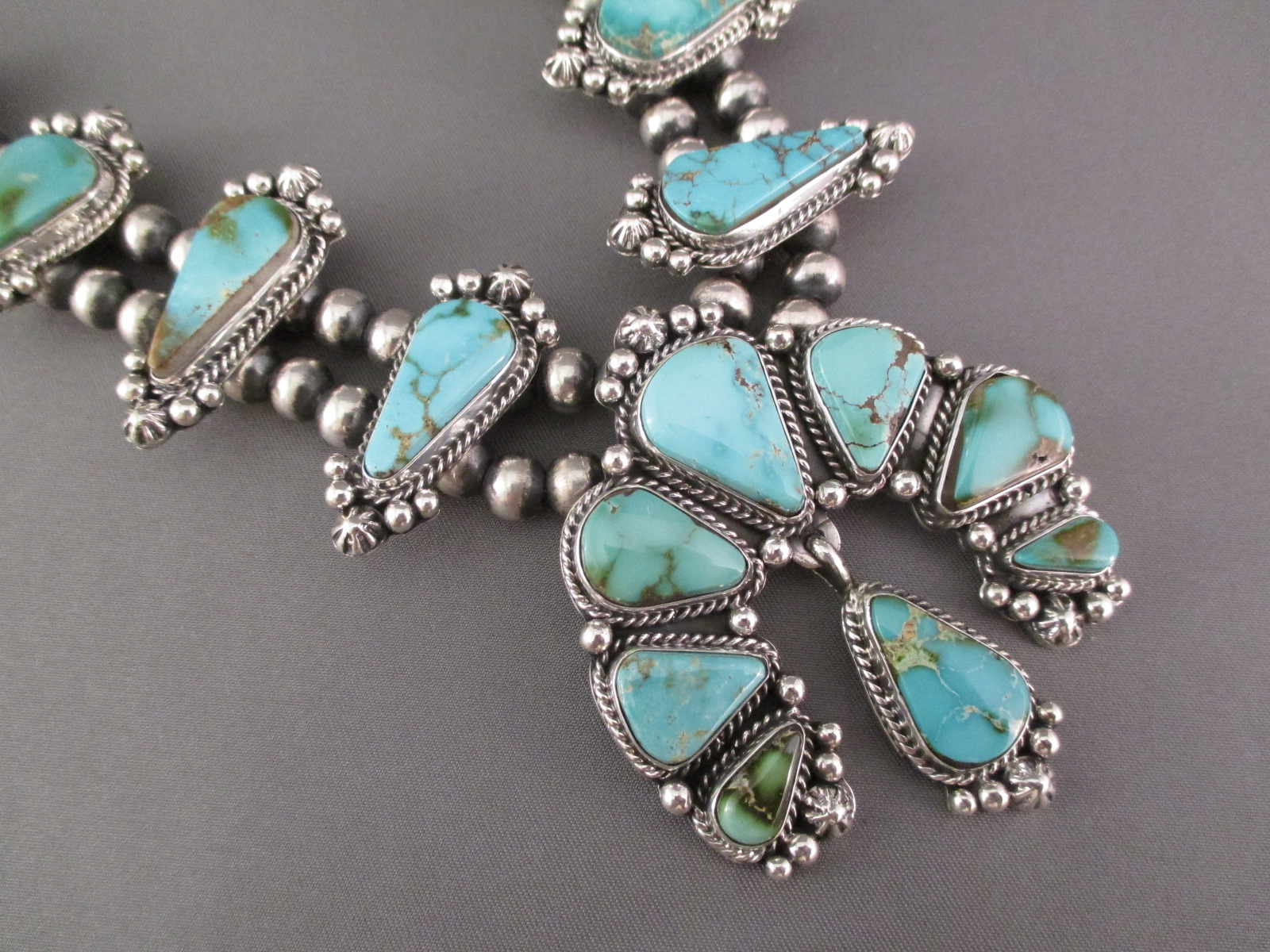 Turquoise Squash Blossom Necklace & Earring Set
