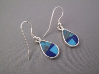 Turquoise & Lapis Inlay 'Teardrop' Earrings - Navajo Jewelry