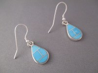 Turquoise Inlay Earrings (Teardrops) - Turquoise Navajo ...