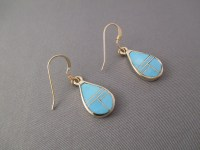 Gold & Turquoise Inlay Earrings - Navajo Jewelry ...