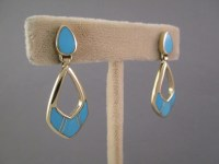 Turquoise Inlay 14kt Gold Earrings - Gold Inlay Jewelry ...