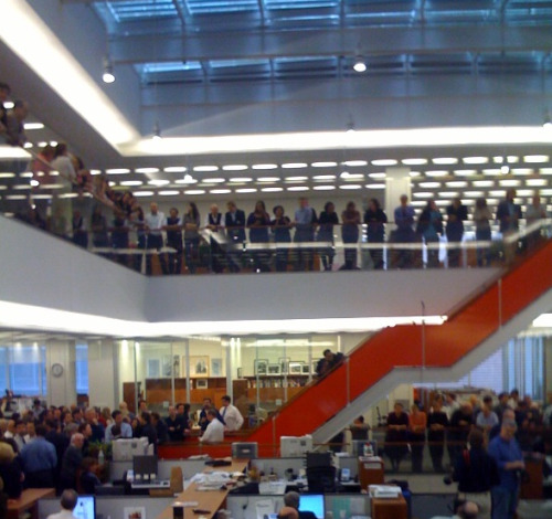 NY Times newsroom, Pulitzer announcement