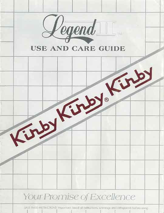 Download Old Kirby Owner Manuals from our Owner Manual Archive