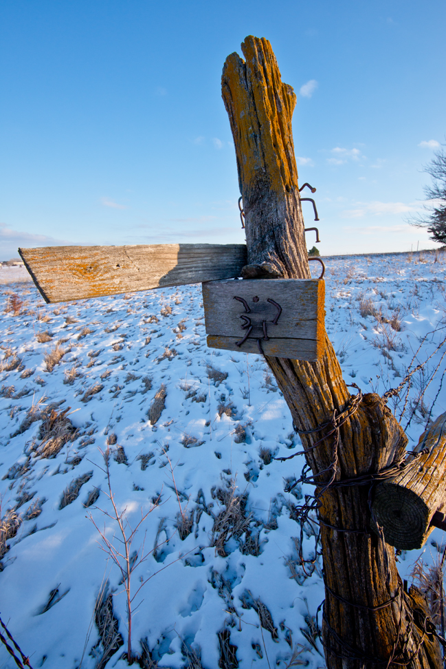 Fence Post with Bent Nails on the Property Line