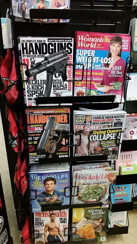 gun, magazines, book, grocery, rack, SHTF, preparedness