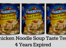 taste test, canned food, chicken noodle, expired, food storage