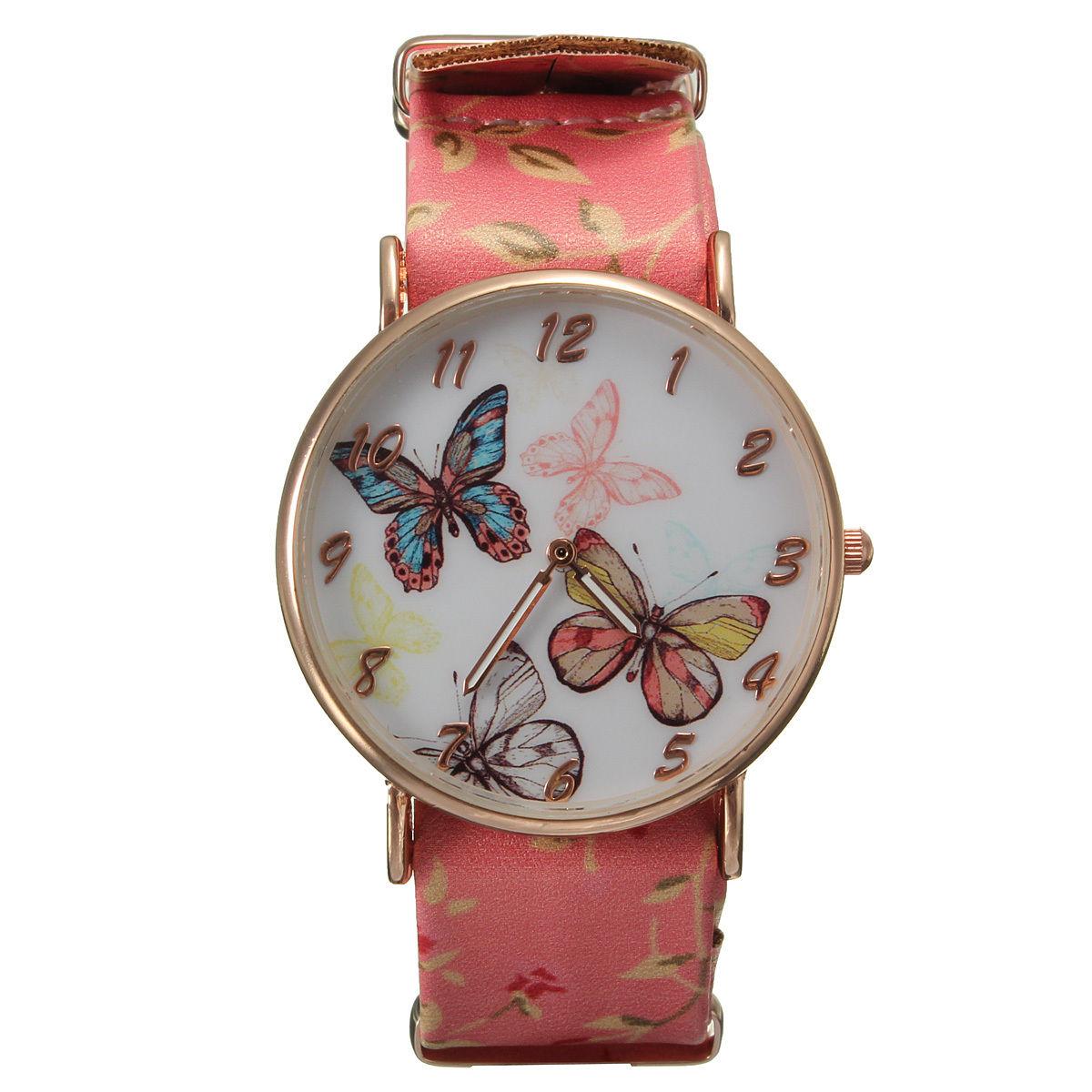 Butterfly Watch Butterfly Leather Watch Pink Bracelet