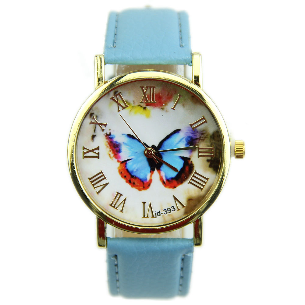 Butterfly Watch Leather Watch Bracelet Watch Vintage