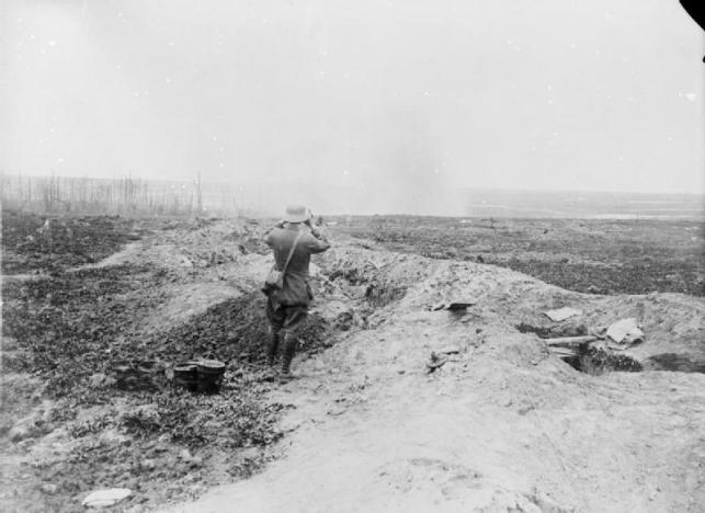 British bombardment near Trones Wood Aug. 1916. IWM Q1171. The image appears to show the observer looking west past Trones towards shelling of Guillemont.