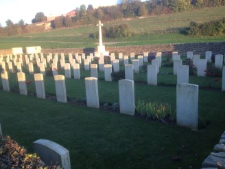 Suzanne Communal Cemetery Extension. The resting place for many British defenders of the Somme sector.