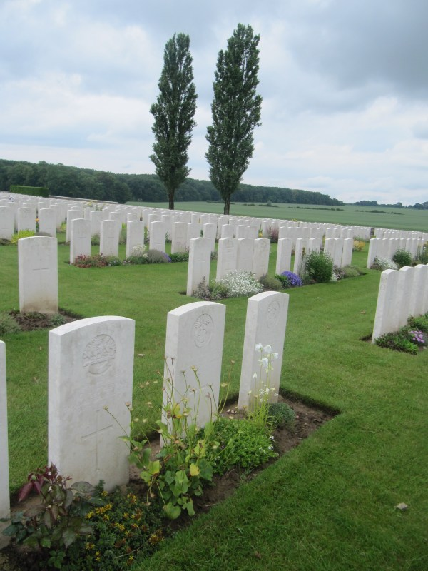 Guillemont Road Cemetery with Trones Wood in the background