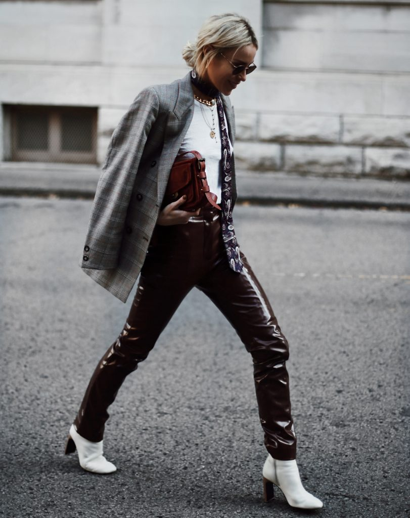 red leather pants blazer white boots