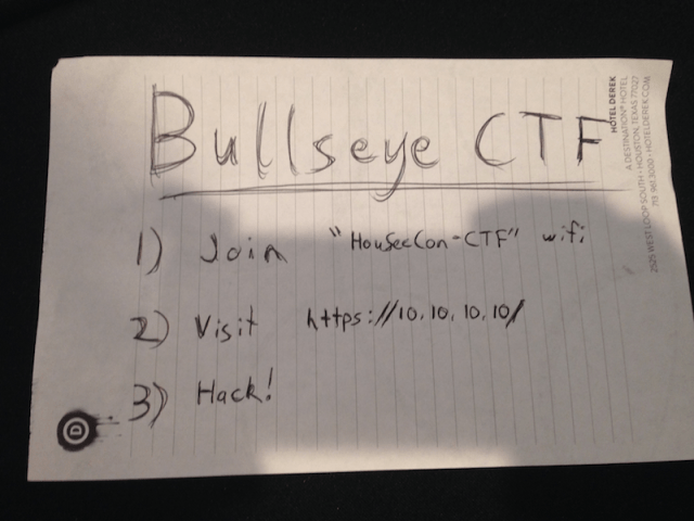 I like instructions that are simple – like this one for the Hou.Sec.Con 5.0 CTF