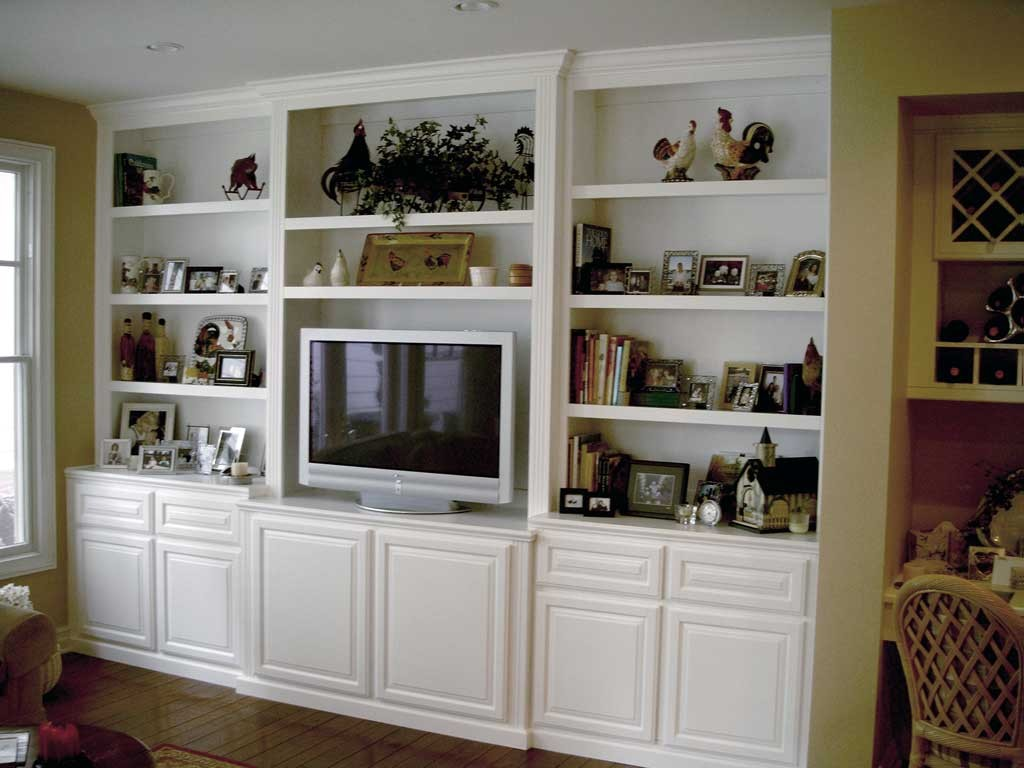 Get a Built In White Entertainment Center from Cabinet