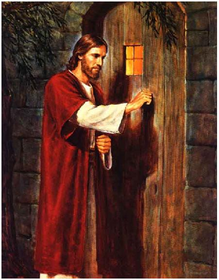 PAINTING JESUS STANDING AT THE DOOR STAINED GLASS ART WALLPAPER III