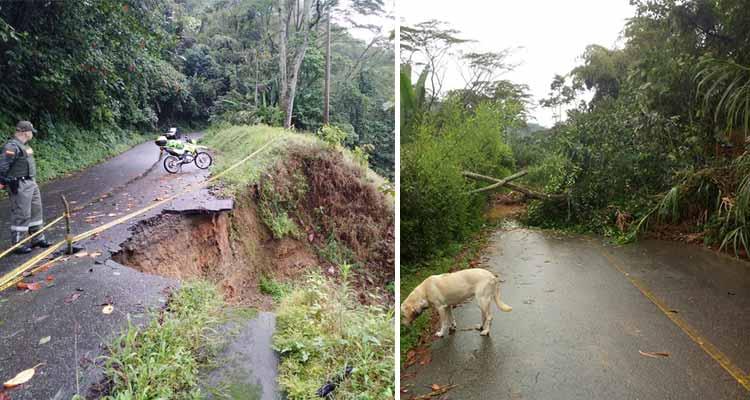 Graves afectaciones en vías de todo el Quindío por las lluvias