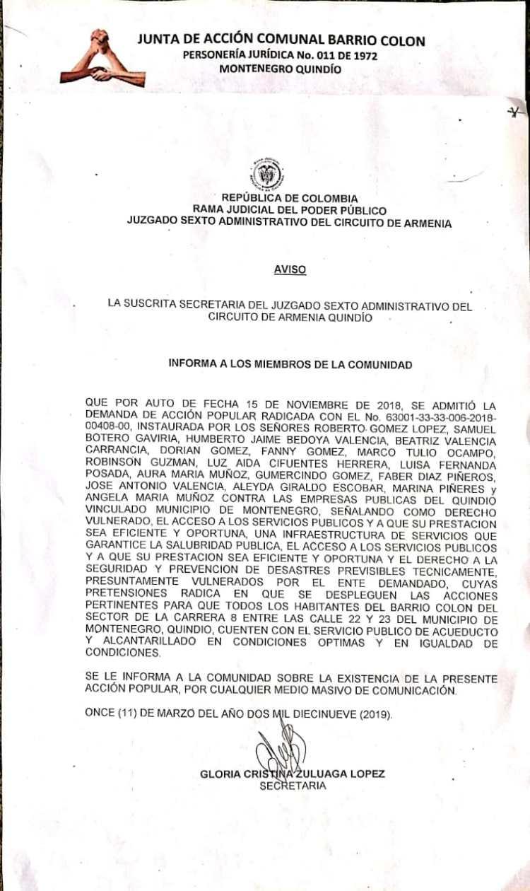 Juzgado acepta demanda de comunidad del barrio Colón de Montenegro en contra de EPQ