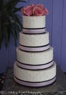 Navy and pink wedding cake