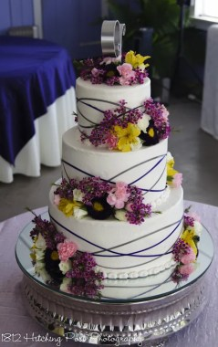 Spring wedding cake with ribbons