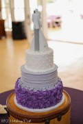 Plum and gray wedding cake