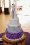 Plum and gray wedding cake