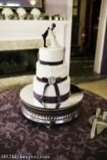 Plum ribbon wedding cake