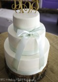 Mint bow wedding cake