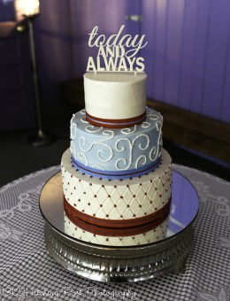 Red and light blue wedding cake