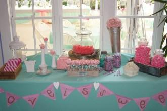 Aqua, pink and coral candy bar