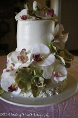 Silk orchids on simple wedding cake