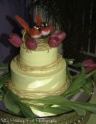 Yellow lemon wedding cake with bird's nest