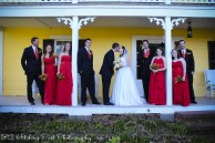 Wedding party on porch