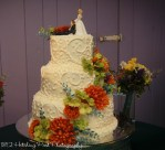 Guava and green piped wedding cake